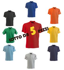 Stock Lotto Pacchetto 5 Polo Manica Corta 100% Cotone Piquet Da Lavoro