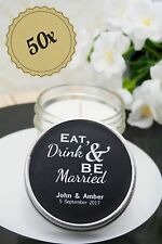 50x Personalised Wedding Candle Favours / Bomboniere In 4 oz Vintage Modern Jar