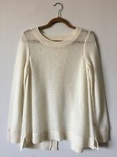 REBECCA TAYLOR EXCLUSIVE $350 100% CASHMERE IVORY CROSSOVER BACK SWEATER SIZE M