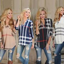 Womens Blouse Striped Plaid 3/4 Sleeve Fitted Ladies T-Shirt Loose Casual Tops
