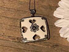 Recycled Broken Porcelain Jewelry, Large Heart openwork Pendant
