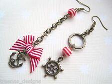 *MISMATCH NAUTICAL RED STRIPE BOW ANCHOR WHEEL* Long Chain Drop Bronze Earrings