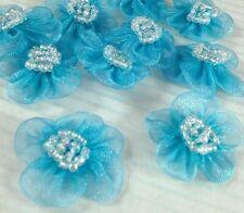 Organza Beaded Flower Appliques x 60 Aqua Blue-Trim/Sewing