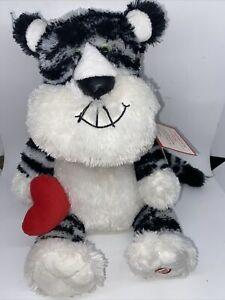 "NWT New Hallmark Leonardo 12"" Plush Romantic Valentine's Cat *Works Well*"