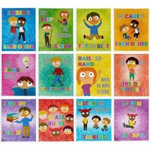 Class Rules Posters for Preschool, Teacher Classroom Supplies (12 Pack)