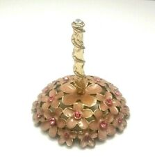 "Pink Floral Ring Holder Gold Tone Metal Enamel Rhinestone Flowers  3"" Tall"
