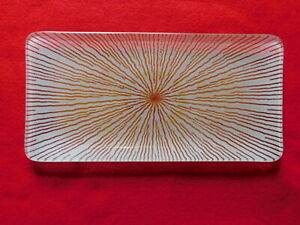 """Vintage Maurice Heaton Enameled Fused Art Glass 10"""" by 5"""" rectangle plate 50-60s"""