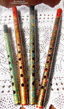 FLUTES DECORATIVES DE COLLECTION   PAPIER MACHE PEINTES A LA MAIN LOT DE 4