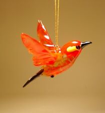 "Blown Glass Figurine ""Murano"" Art Small Hanging RED Bird Ornament"