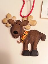 Hand Sculpted Clay Reindeer Moose Christmas Ornament- New w/ tag-Cute Reindoose