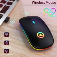 Slim Wireless Mouse Mute Cordless Mice For PC Laptop USB Rechargeable RGB Light
