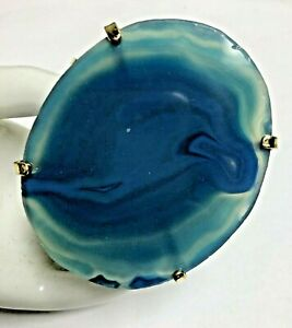 Blue Agate Large Stone Artisan Bracelet