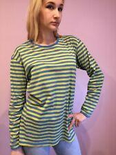 Women's Marimekko Top Striped Size L  Blue/ Yellow Color long sleeves