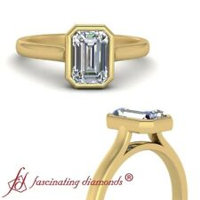 Cathedral Style Emerald Cut Diamond Bezel Set Solitaire Engagement Ring 0.90 Ctw
