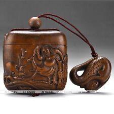 Japanese Handmade Netsuke Octopus and Woman Boxwood Wood Figurine Xmas Gift