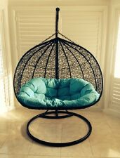 PE ratten hanging egg chair swing waterproof cush stand Syd 2 Seater Double