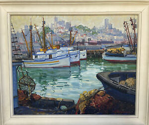 Margaret Frances Robinson Harbor Fishing Boats Impressionist Oil Painting