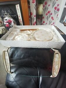 Vintage Boxed  Gold Floral  Dressing Table/Vanity Set & Tray
