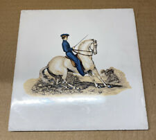 "Whoa, Nellie! Vintage Soriano Ceramic ""Halt"" Equestrian Woman on Horse Tile 6"""