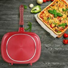 Red Double-Sided Frying Pan Non-Stick Barbecue Cooking Durable Kitchen Ware U2G2