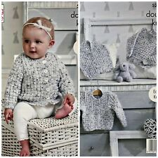 KNITTING PATTERN Baby's Easy Knit Cardigan Jumper & Waistcoat DK King Cole 5234