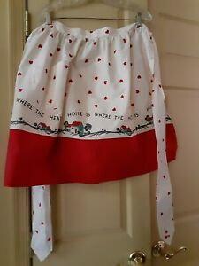 Vintage Apron HOME IS WHERE THE HEART IS  Red & White