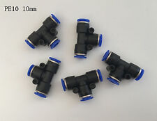 10Pcs PE10 10mm Push In Equal Tee Straight Fittings Pneumatic Quick Connectors