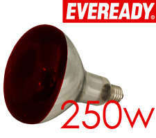 250W Infra Red Heat Lamp Ruby Red Finish 125mm Hard Glass E27 Reptiles Chicks