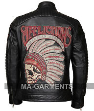 US Motor Club Vintage Mens Cowhide Leather Jacket with 3D Embroidered Apache
