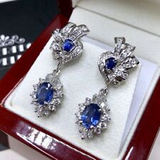 CEYLON! 5.87TCW Blue Sapphire diamonds 18K solid white earrings dangling natural