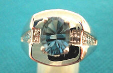 925 Sterling Silver Unisex Ring With London Blue Topaz UK T 1/2 US 9.75 (rg2695)