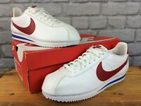 NIKE MENS UK 9 EU 44 CLASSIC CORTEZ LEATHER WHITE RED BLUE TRAINERS LB