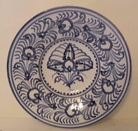 twd-bx BLUE AND WHITE ART POTTERY handpainted WALL PLATE, FAIENCE, 9""