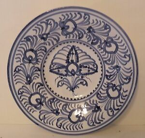 """twd-bx BLUE AND WHITE ART POTTERY handpainted WALL PLATE, FAIENCE, 9"""""""
