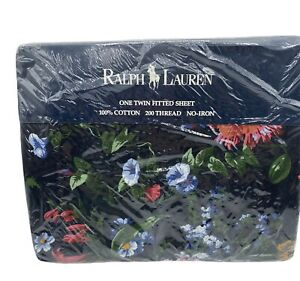 Ralph Lauren Isadora III Black Floral Twin Fitted Sheet Vintage New Sealed