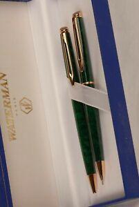 Waterman Hemisphere Set Green Marble & Gold Ballpoint Pen & 0.5 Pencil New In Bx