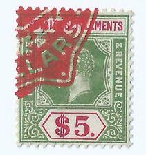 1912-33 Malaya Straits Settlements George V $5 Revenue stamp duty Used (S-81)