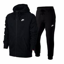 Nike Men's Hooded Black Tracksuit Fleece Lined Jog Suit Sweatshirt & Bottoms