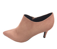 Womens Ladies Pink Faux Suede Kitten Heel Shoes Ankle Boots Size 4 6 7 New