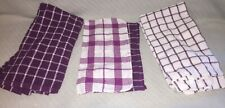6 Piece Purple Plaid Kitchen (4) Hand Towels and (2) Dish Cloth Matching Set