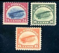USAstamps Unused FVF US First Airmail Jenny Set Scott C1, C2 MHR, C3 OG MNH
