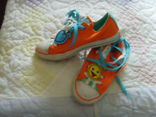 VGUC girls kids youth 2 converse All Star Emoji orange shoes popsicle mustache