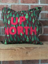 Pillow decorative Cabin/Lodge 16X16  Handmade USA Flannel & Felt w Leather strap