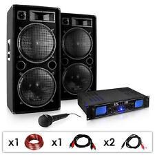 DJ SET COPPIA CASSE ACUSTICHE 2000W AMPLIFICATORE FINALE DI POTENZA MICROFONO PA