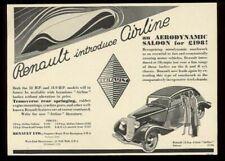 1934 Renault Airline streamlined car vintage UK print ad