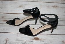 New Via Spiga Black Suede Ankle Strap Mid Heel Sandals (US Size 5)