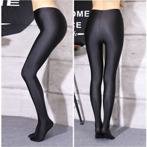 Women Sexy Shiny Shimmer Pantyhose Opaque Glossy Tights Stockings Hosiery Black