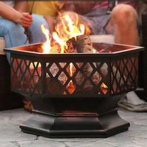 Outdoor Steel Fire Pit BBQ Firepit Garden Hexagonal Stove Patio Heater Camping
