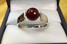 925 Sterling Silver Carnelian Gemstone Modernist Ring Size-10 Fine Jewelry