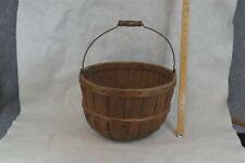 basket bent wood lap bands New England apple pick bushel original 1900 antique